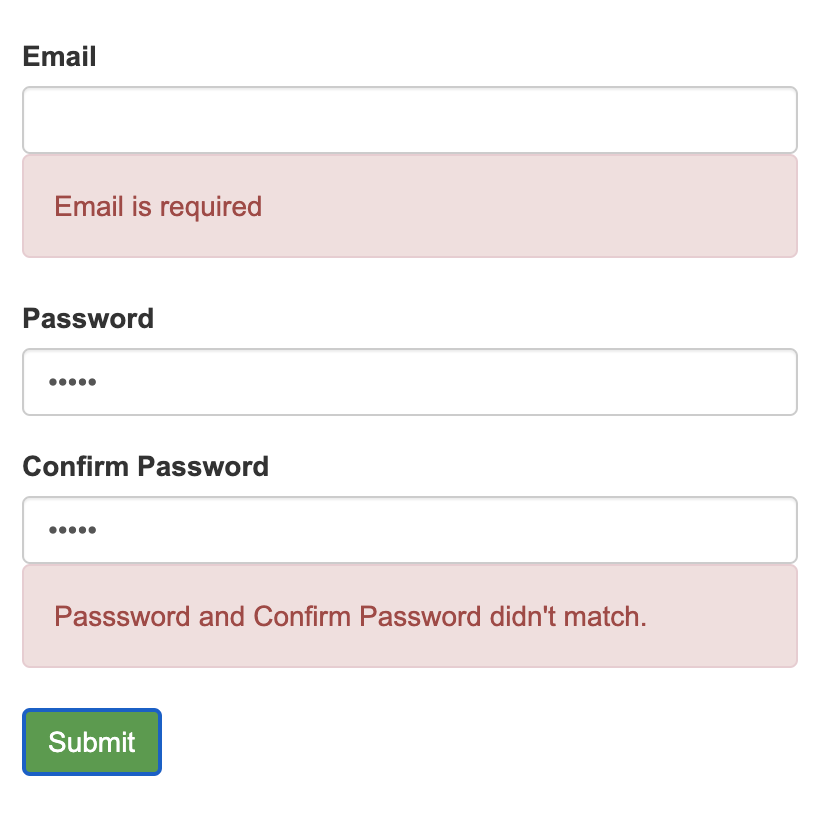 Match Password Validation in Angular Reactive Forms